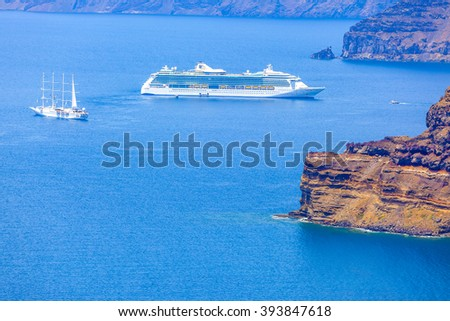 Greece Santorini island, ship entering the main port of the island in caldera