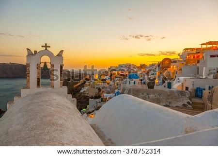 Greece Santorini night view in Oia - stock photo