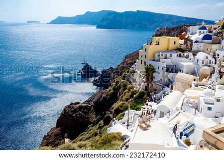 GREECE, SANTORINI- OCT 3: Top view to the sea and village Oia. October 3, 2014 - stock photo