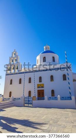 Greece Santorini orthodox church - stock photo