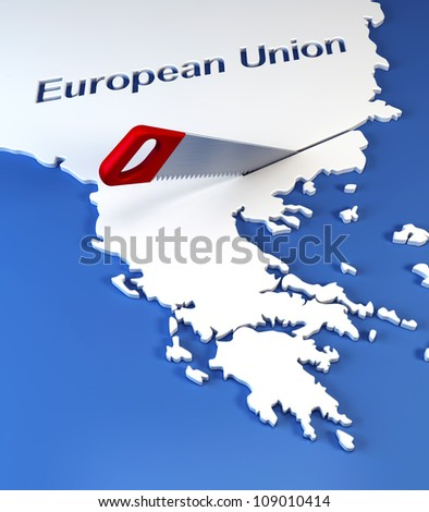 Greece secession from European Union, 3d rendering - stock photo