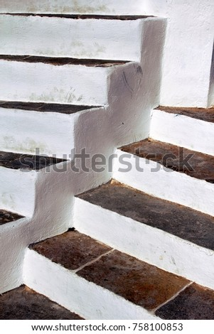 Greece, Sifnos Island, Apollonia Town, Detail Of Stairways
