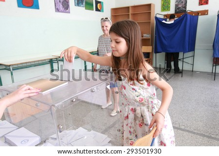 GREECE, Thessaloniki JULY 5, 2015: Greek referendum. Greeks are voting in a crucial referendum to decide whether to accept the creditorsâ?? terms or not.