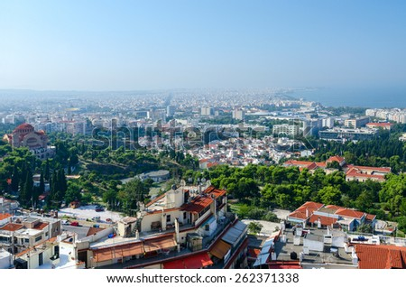 Greece, Thessaloniki, morning view on historic center of city with old fortress walls - stock photo