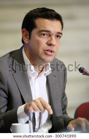 GREECE, Thessaloniki SEPTEMBER 18, 2012: - Alexis Tsipras (leader of SYRIZA political party and now Prime Minister of Greece) during a press conference at the 77th Thessaloniki International Fair