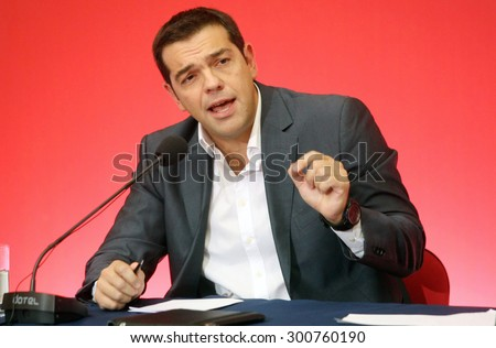 GREECE, Thessaloniki SEPTEMBER 15, 2013: - Alexis Tsipras (leader of SYRIZA political party and now Prime Minister of Greece) during a press conference at the 78th Thessaloniki International Fair - stock photo