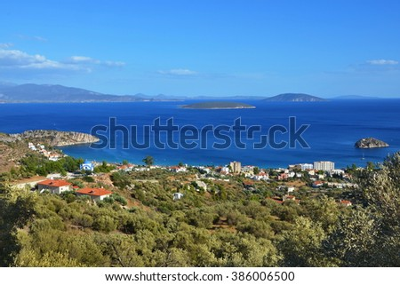 Greece,Tolo-view on the Tolo,islands Koronisi and Plateia