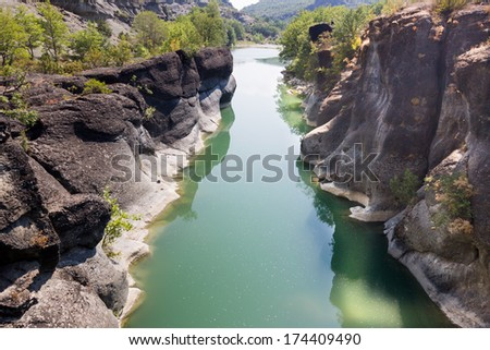 Greece Venetikos river bridge - Grevena - stock photo