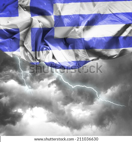 Greece waving flag on a bad day - stock photo