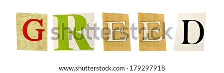 Greed formed with magazine letters on a white background - stock photo
