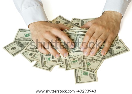 Greedy hands grabbing heap of money US  dollars - stock photo