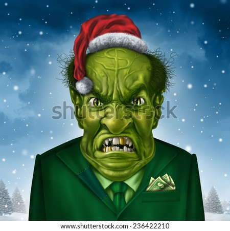 Greedy holiday boss concept and selfish christmas greed as a green business manager character with a santa claus and a dollar sign on his forehead as a concept of selfishness or stingy financial man. - stock photo