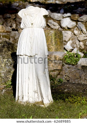 Greek archaic statue torso found at ancient Dion of Katerini city in north Greece - stock photo