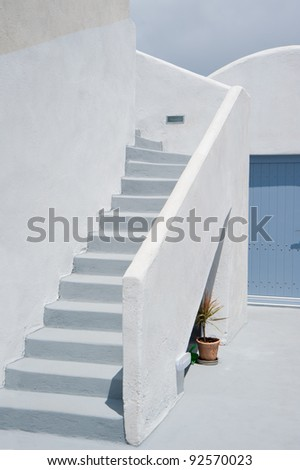 Greek architecture on Oia village,Santorini island,Greece - stock photo