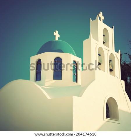 Greek church bell tower, Santorini, Greece. Vintage style. - stock photo