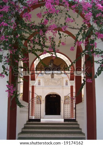 Greek church entrance - stock photo