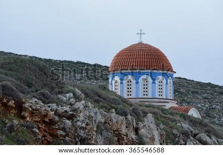 Greek Church in Winter in Rethymno Prefecture, Crete - stock photo