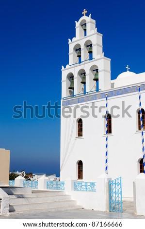 Greek church, Santorini, Greece - stock photo