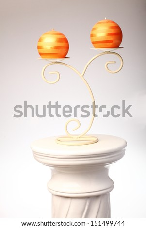 greek column and candlestick isolated on white background - stock photo