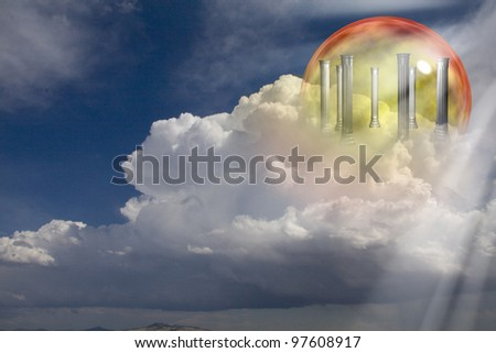 Greek Columns on clouds - stock photo