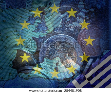 Greek debt crisis -  Greek and European flag in front of the contours of Europe, in a circle of stars  Euro coins translucent, - stock photo