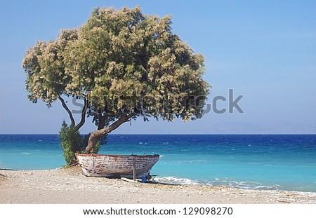 greek fisherman boat at Rhodes Island, Greece - stock photo