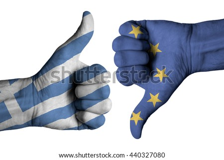 Greek flag and European flag on human male hands