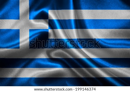 Greek flag fabric with waves