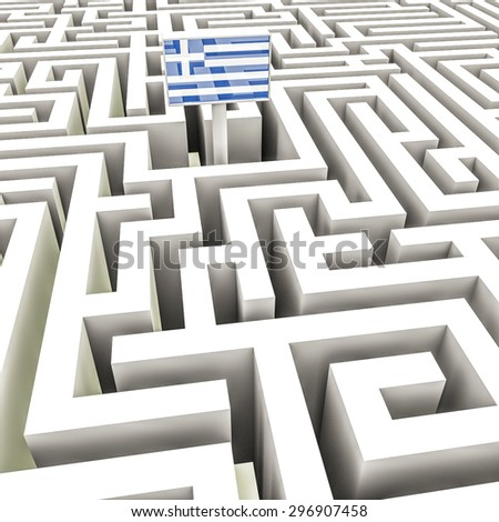 Greek flag in a complex maze