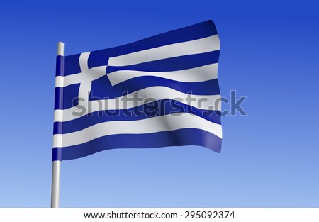 Greek flag on a background of blue sky. - stock photo