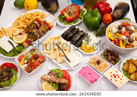 Greek Food Laid out on Table - stock photo