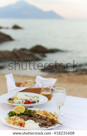 greek food outdoor in summer  - stock photo