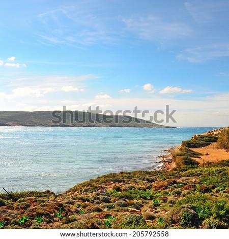 Greek Island of Rhodes with  Rugged Coast - stock photo