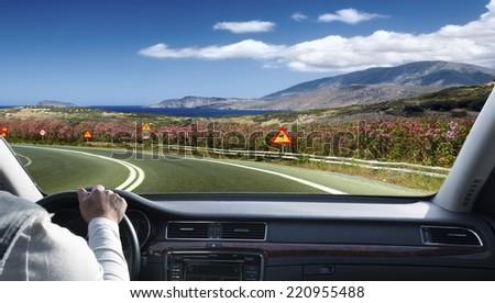 Greek landschaft a mountain road - stock photo
