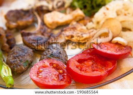 Greek Meat Platter - stock photo