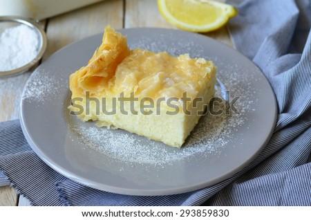 Greek Milk Cake with semolina custard, close-up, horizontal,selective focus - stock photo