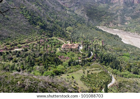 Greek monastery of Taxiarches in Greece Aigion from high view