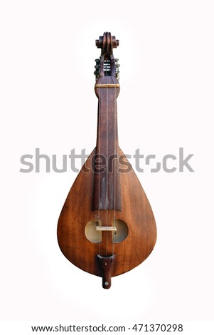 Greek musical instrument bouzouki isolated over white