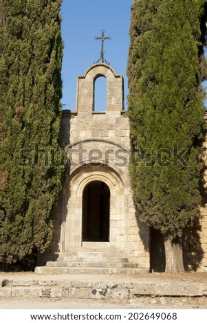 Greek Orthodox church in cedars, Rhodes island, Greece - stock photo