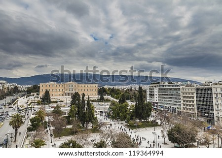 Greek Parliament in front of Syntagma Square in Athens ,Greece - stock photo