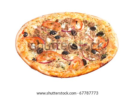 greek pizza isolated on white