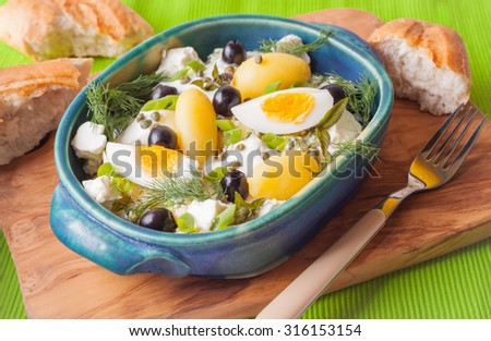 Greek potato salad with feta cheese, egg, olives, marinated in yogurt and fresh herbs in a blue ceramic bowl with a fork with white bread on the board of an olive tree on a green background horizontal - stock photo