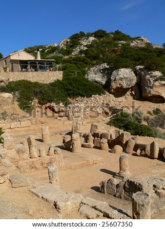 greek ruins on a famous archaeological site