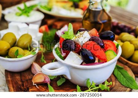 Greek salad, choriatiki - stock photo