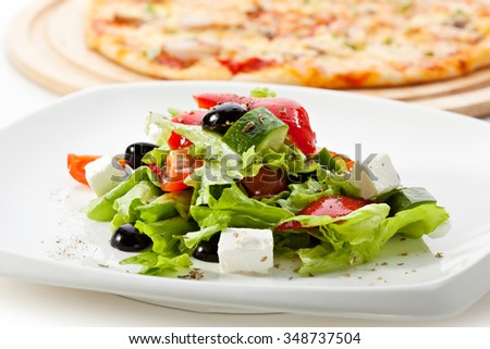 Greek Salad (Feta Cheese,  Olive and Vegetables) - stock photo