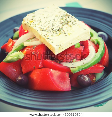 Greek salad. Instagram style filtered image - stock photo