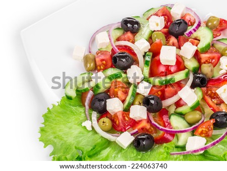 Greek salad. To be used as background.