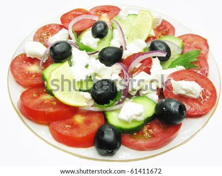 greek salad with cheese lemon olive and tomato