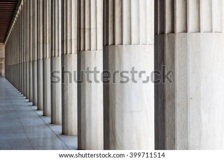 Greek stone columns  - stock photo