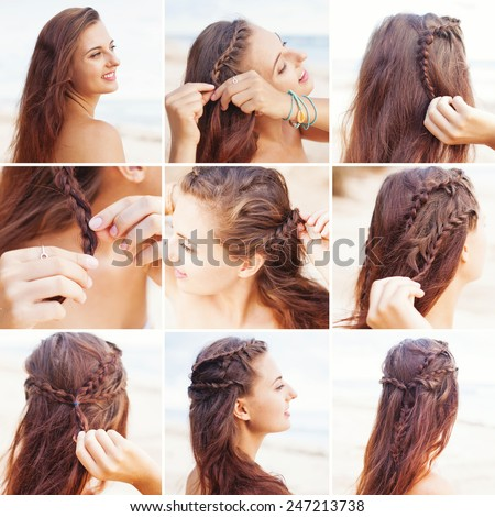 greek style beach hairdo tutorial by beauty blogger - stock photo